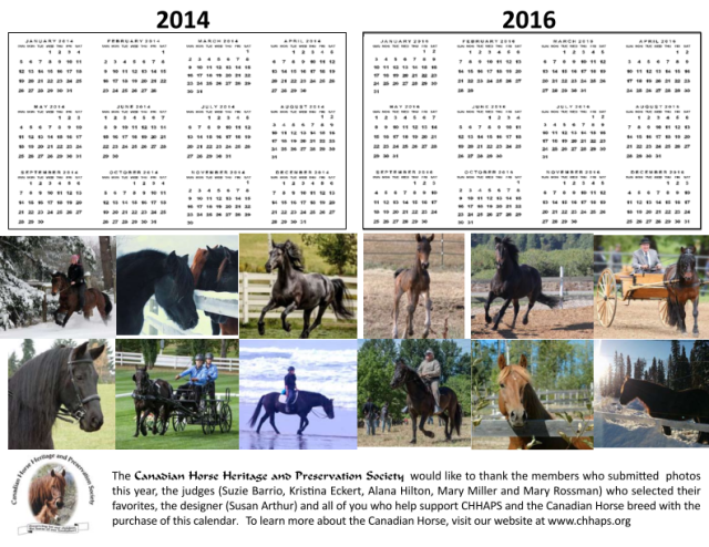 Back of the 2015 CHHAPS Canadian Horse calendar.